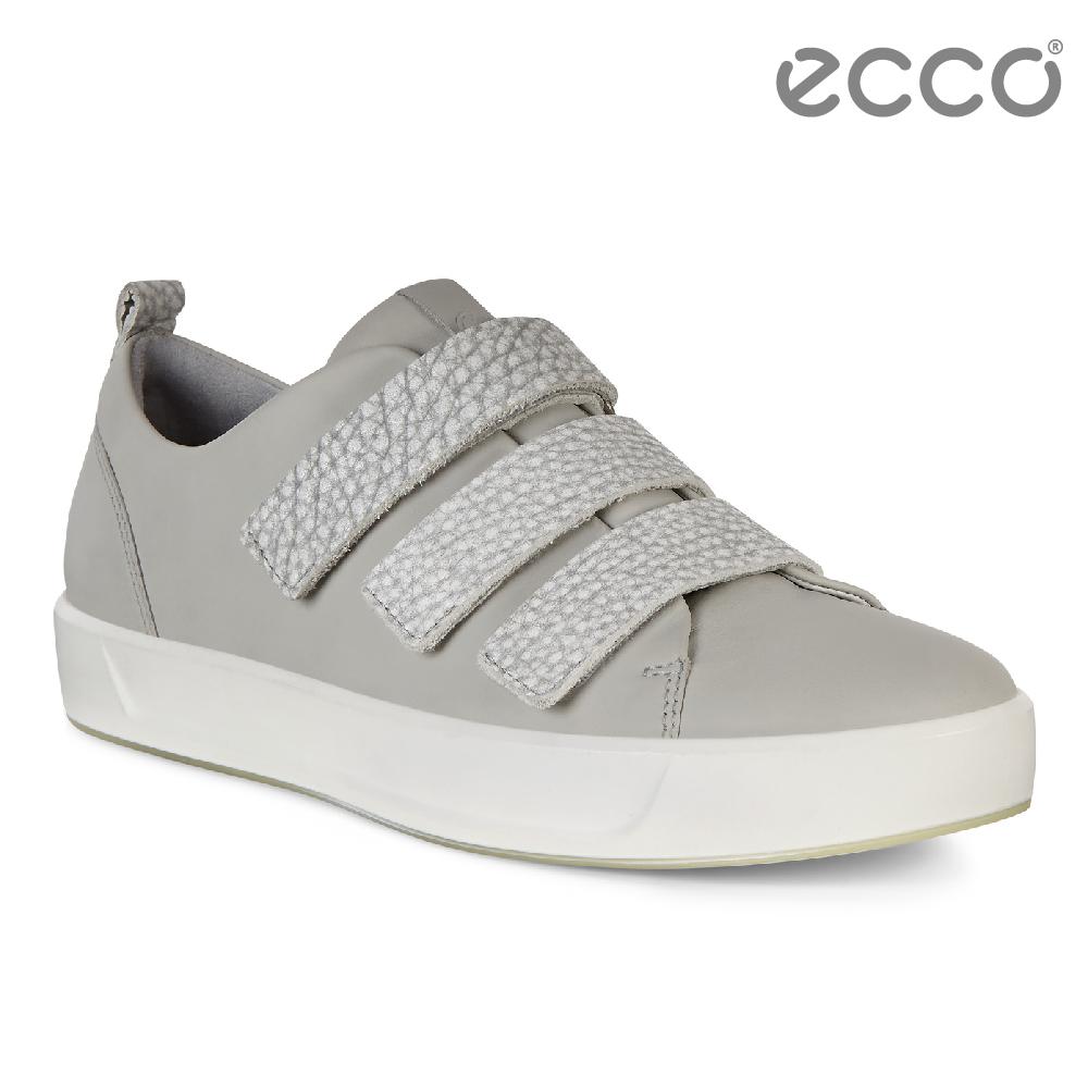 ECCO SOFT 8 LADIES 閃亮牛皮簡約魔鬼氈休閒鞋 女-灰