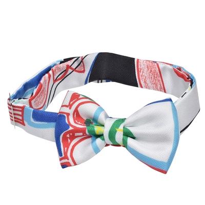 HERMES 經典Bow tie繽紛花紋造型蝴蝶結領結(白)