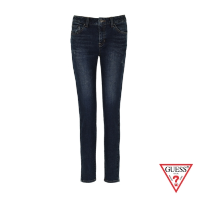 GUESS-女裝-水洗刷色刷毛緊身牛仔褲-藍 原價3990