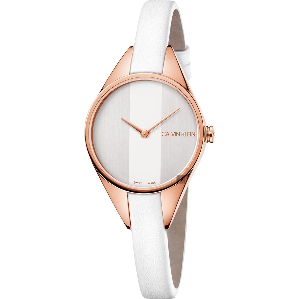 Calvin Klein CK Rebel 極簡雙針手錶-玫瑰金框x白/29mm