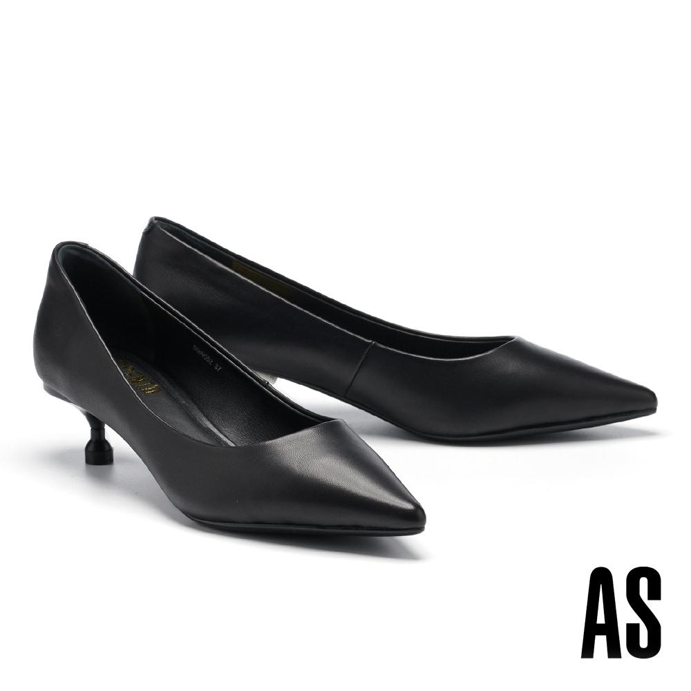 高跟鞋 AS 極簡純色羊皮尖頭高跟鞋-黑