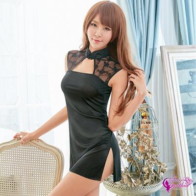 Sexy Cynthia黑色復古短版立領旗袍角色扮演服-黑F