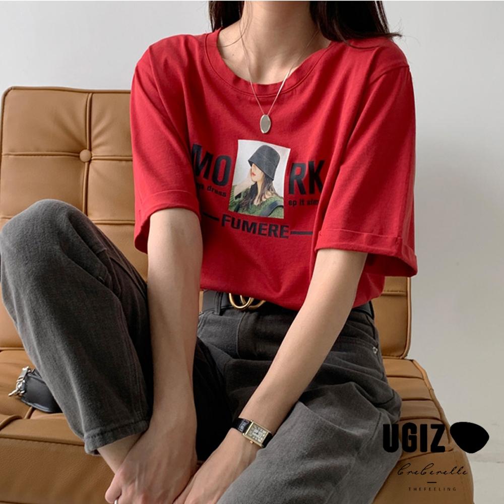 UGIZ-修身英文字母與女孩圖案造型上衣-3色(M-XL)