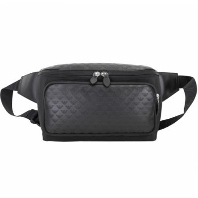 Emporio Armani 浮雕滿版老鷹標誌異材質拼接胸肩背/腰包(黑色)