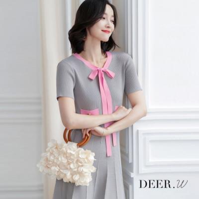 DEER.W 配色繫帶收腰針織洋裝(灰)
