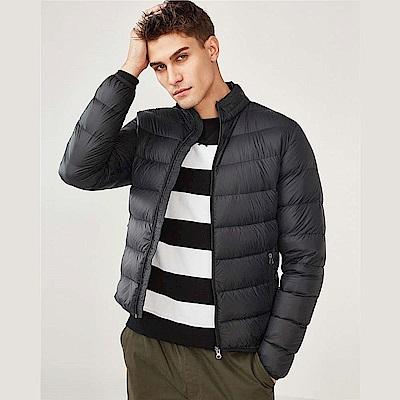 GIORDANO 男裝 90%白鴨絨可機洗輕量立領羽絨外套-09 標誌黑