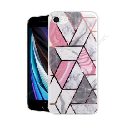 VXTRA 燙金拼接 iPhone SE 2020/SE2 大理石幾何手機殼 保護殼(流紋白)