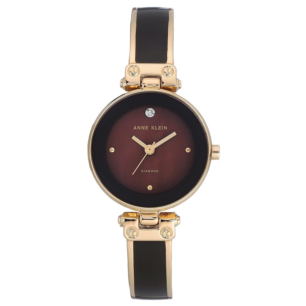 Anne Klein 琺瑯工藝鑽眼絕美腕錶-深可可色x26mm