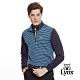 【Lynx Golf】男款日本東洋紡假兩件式條紋長袖立領POLO衫-藍色 product thumbnail 2