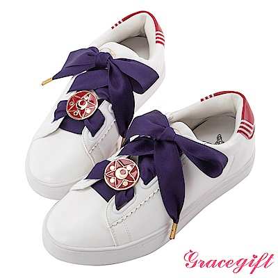 Grace gift-美少女戰士變身器緞帶休閒鞋 紅