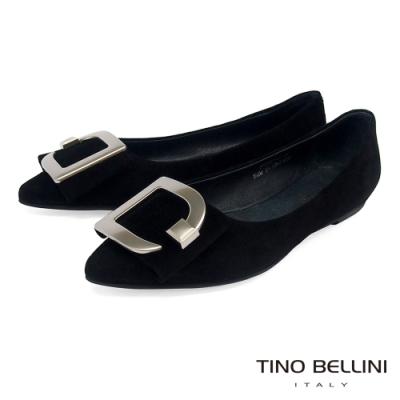 Tino Bellini質感羊麂皮G字釦尖頭平底娃娃鞋_黑