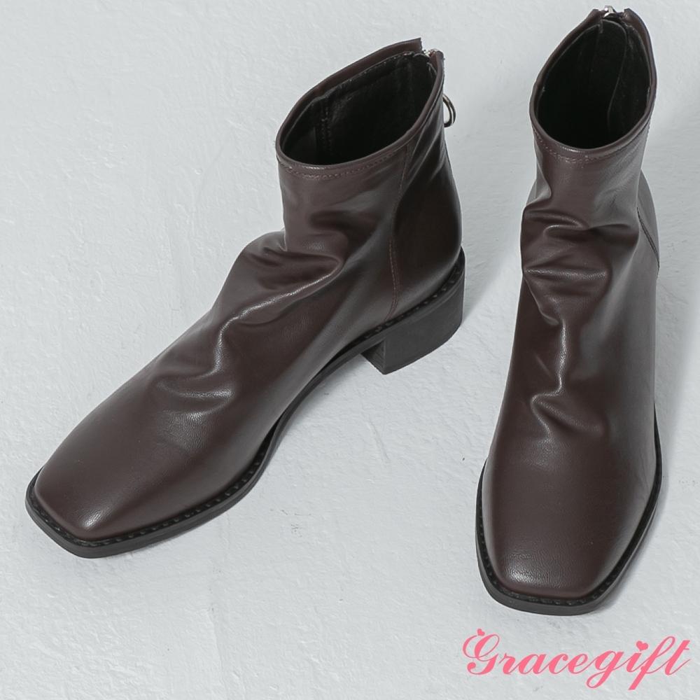 Grace gift-韓系方頭皺皺皮革靴 咖