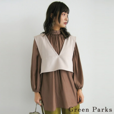 Green Parks 【SET ITEM】V領綁帶短版背心+立領抓褶襯衫上衣