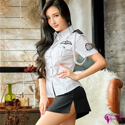 Sexy Cynthia軍警俏麗黑白配警察角色扮演服二件組-白F