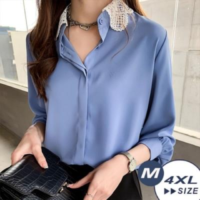 【LANNI 藍尼】韓版蕾絲雕花領襯衫上衣-4色(M-4XL 版型偏小)●