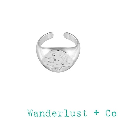 Wanderlust+Co 澳澳洲品牌 古典銀河星球戒指 銀色可調式圓形戒指 INES