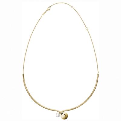 CALVIN KLEIN Bubbly 系列優雅珠飾双繞淺金項鍊