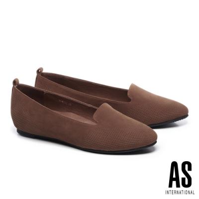 低跟鞋 AS 細緻壓紋羊皮內增高樂福低跟鞋-咖