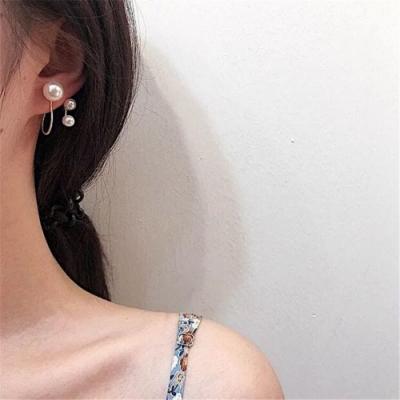 梨花HaNA 韓國絕美出眾不規則三顆珍珠優雅耳環