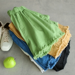 輕薄全棉毛邊百搭寬鬆顯瘦短褲五色可選-設計所在