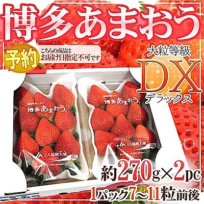 【天天果園】日本福岡草莓原裝(每盒7~11顆/共約270g) x2盒