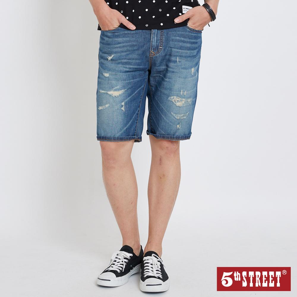 5th STREET 美式破損加工 牛仔短褲-男-中古藍