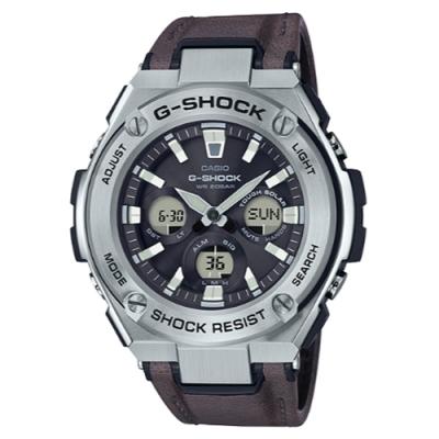 G-SHOCK 分層防護設計現代風咖啡皮帶腕錶(GST-S330L-1A)/55.9mm