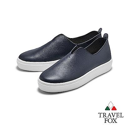 TRAVEL FOX(女) 不只簡單 大V領牛皮舒適高底休閒懶人樂福鞋 - 日常藍