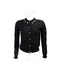 BLUGIRL-FOLIES 金屬花細節黑色毛球開襟美麗諾羊毛衫