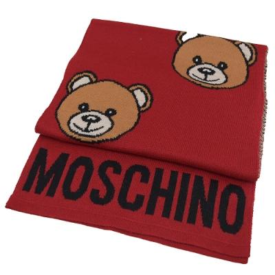 MOSCHINO電繡大臉熊熊羊毛長圍巾(紅 )