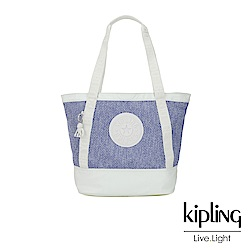 Kipling 渡假海灘風紫藍X白撞色拼接織料肩背托特包-SIDRA