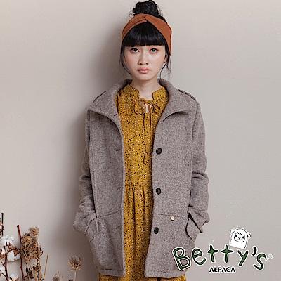 betty's貝蒂思 立領開襟毛料大衣(卡其)