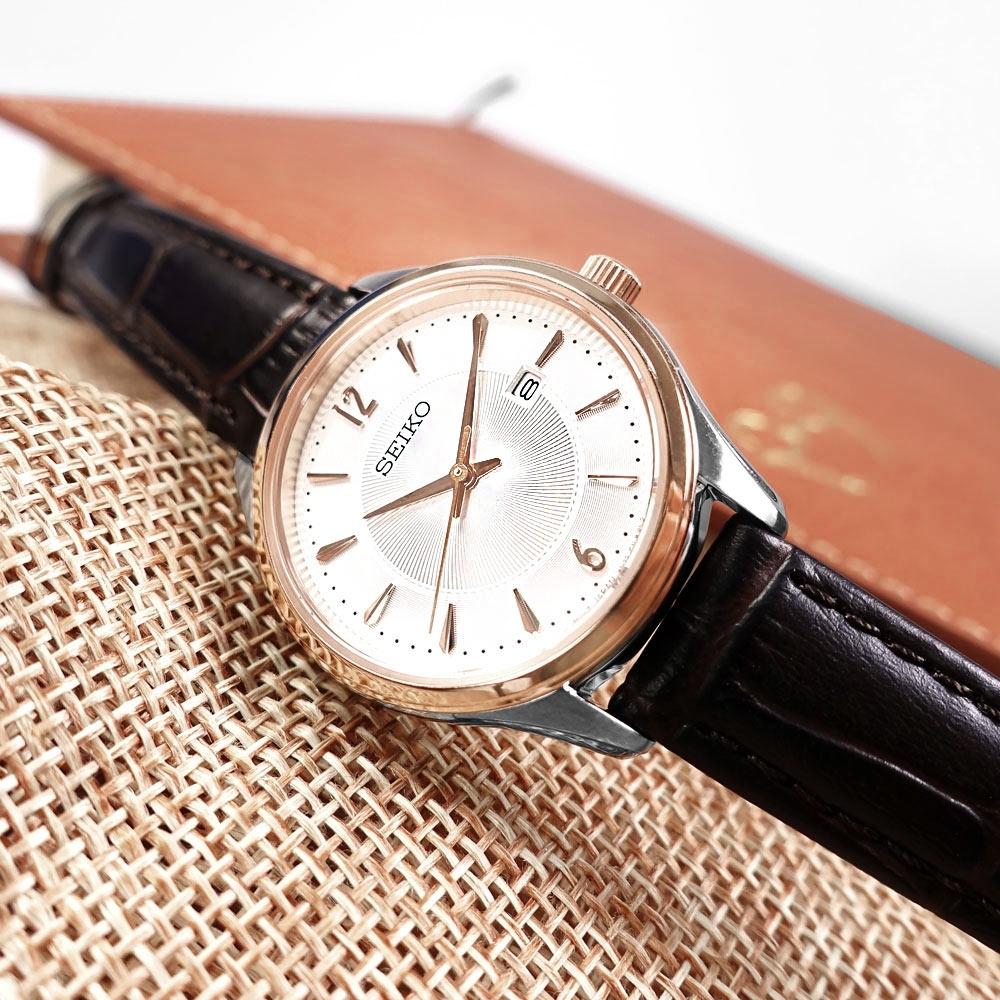 SEIKO 精工 放射狀錶盤 藍寶石水玻璃 日期 壓紋牛皮手錶-白x紅褐色/30mm