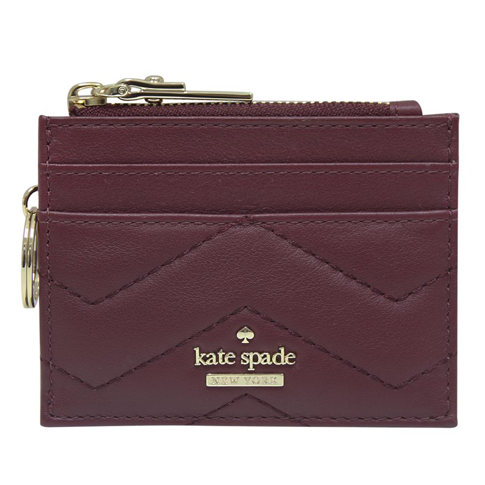 Kate spade 波浪牛皮名片/鑰匙/零錢包-深紅色