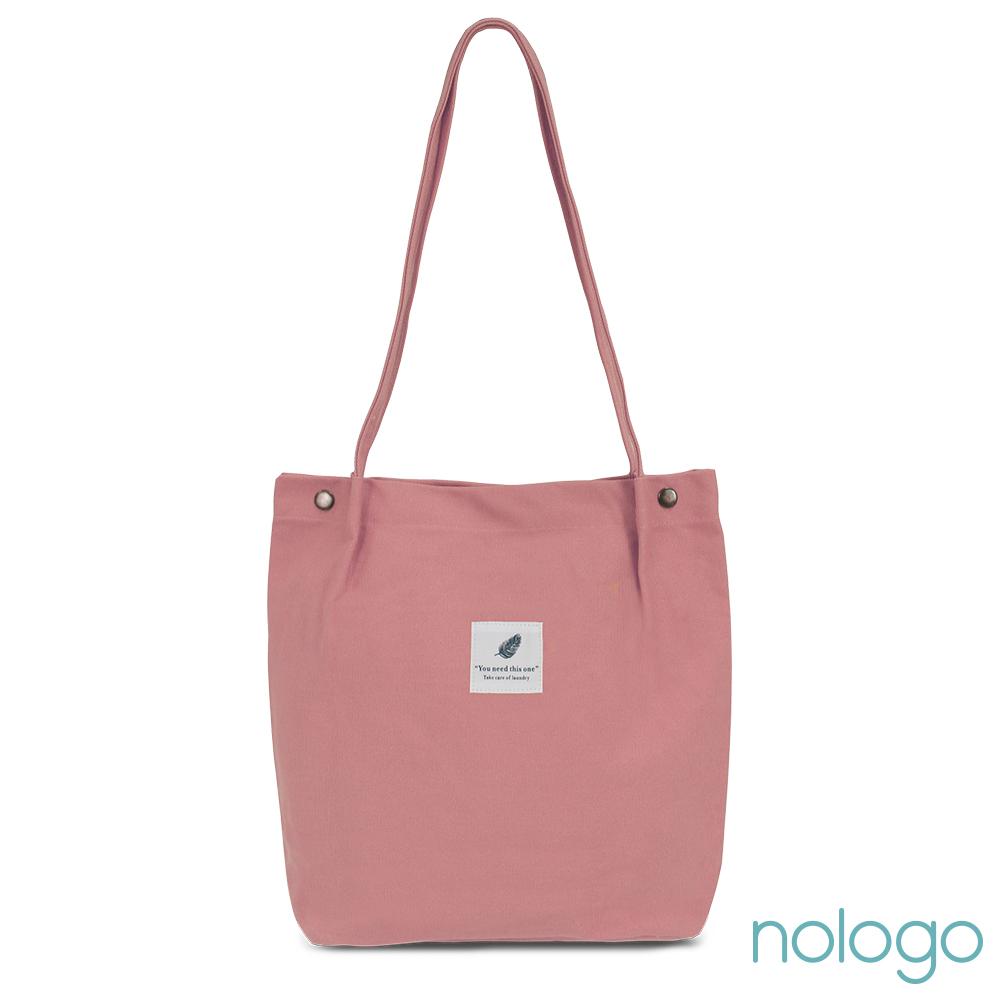 nologo 純色單肩帆布A4包 乾燥玫瑰粉