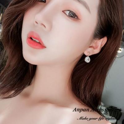 【ANPAN愛扮】韓東大門簡約氣質鑽石925銀針耳釘式耳環