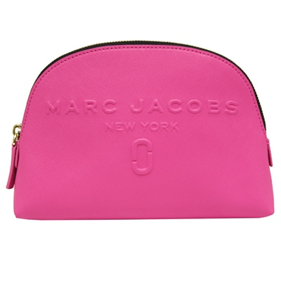 MARC JACOBS 浮雕LOGO防刮牛皮拉鍊化妝包-粉紅色