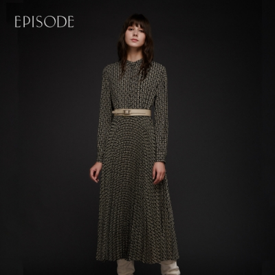 EPISODE - 幾何印花圓領百褶裙擺復古韻味洋裝