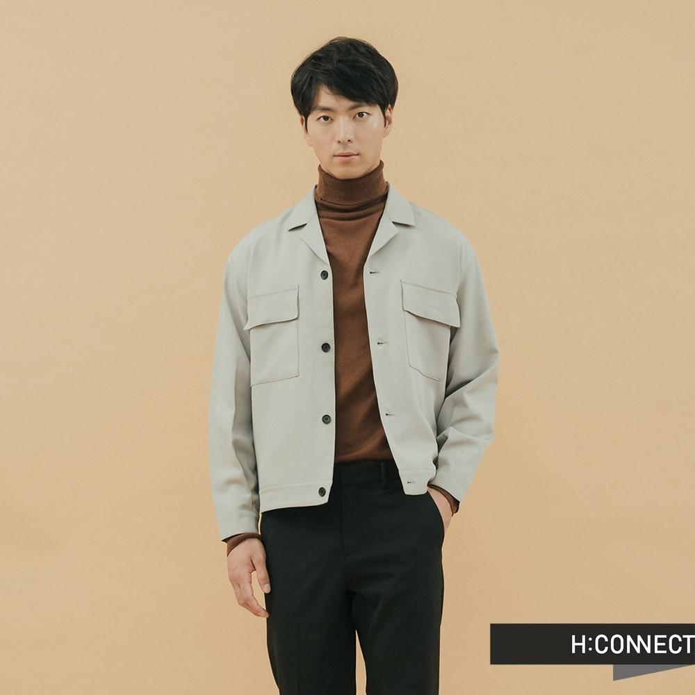 H:CONNECT 韓國品牌 男裝-質感排扣雙口袋外套-卡其