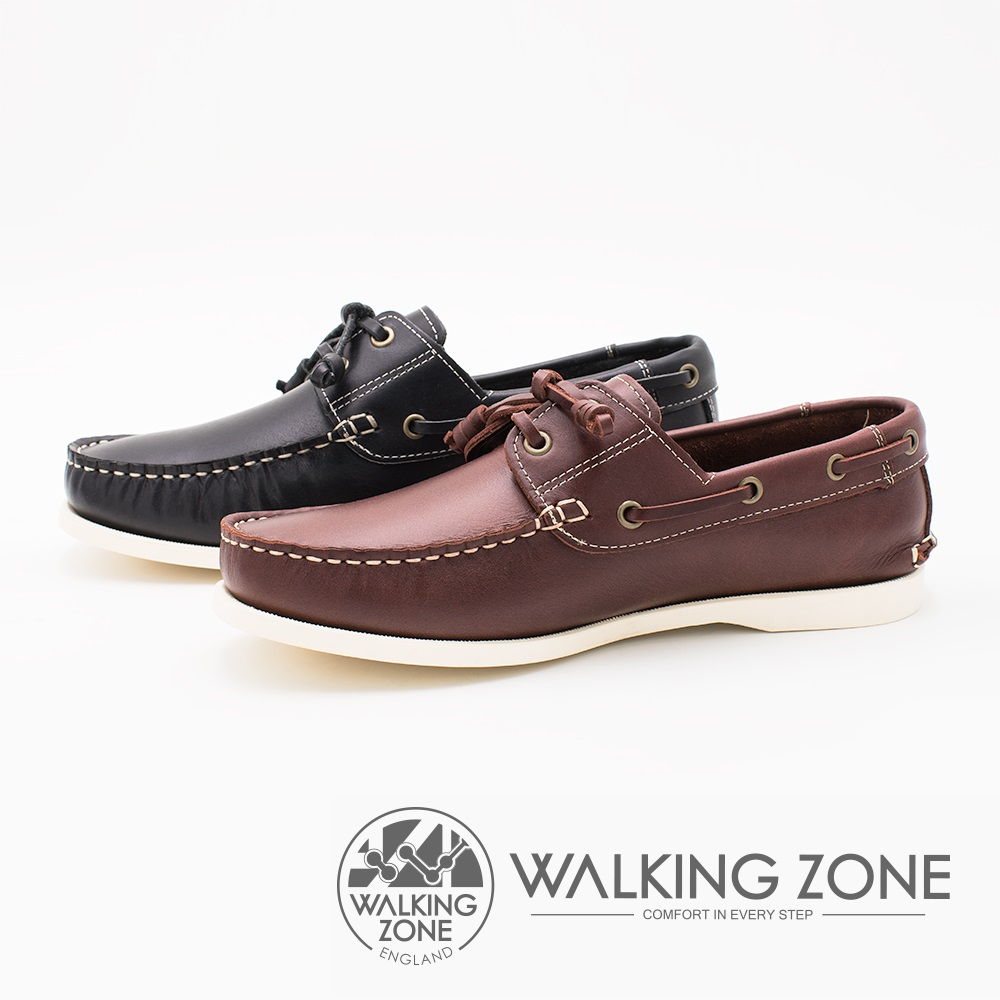 WALKING ZONE 英倫 真皮手工白線車縫帆船雷根男鞋