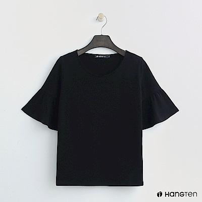 Hang Ten - 女裝 - 荷葉袖純色上衣 - 黑