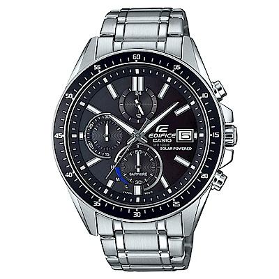 EDIFICE 經典沉著魅力釋放太陽能三眼指針錶(EFS-S510D-1)黑46.1mm