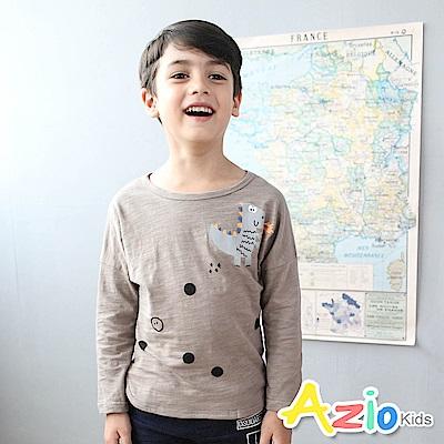 Azio Kids 上衣 快樂恐龍腳印泡泡印花長袖T恤(咖)
