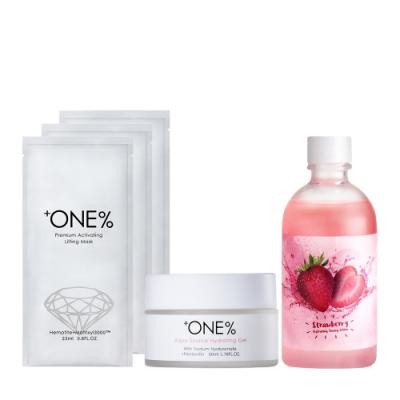 【歐恩伊】美莓保水組-草莓保濕化妝水+保濕水凝乳+(即期品)黑鑽面膜1入*3