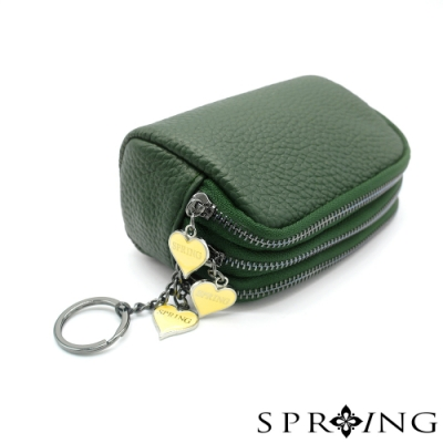 SPRING-太陽的三層多用鑰匙零錢包-森林綠