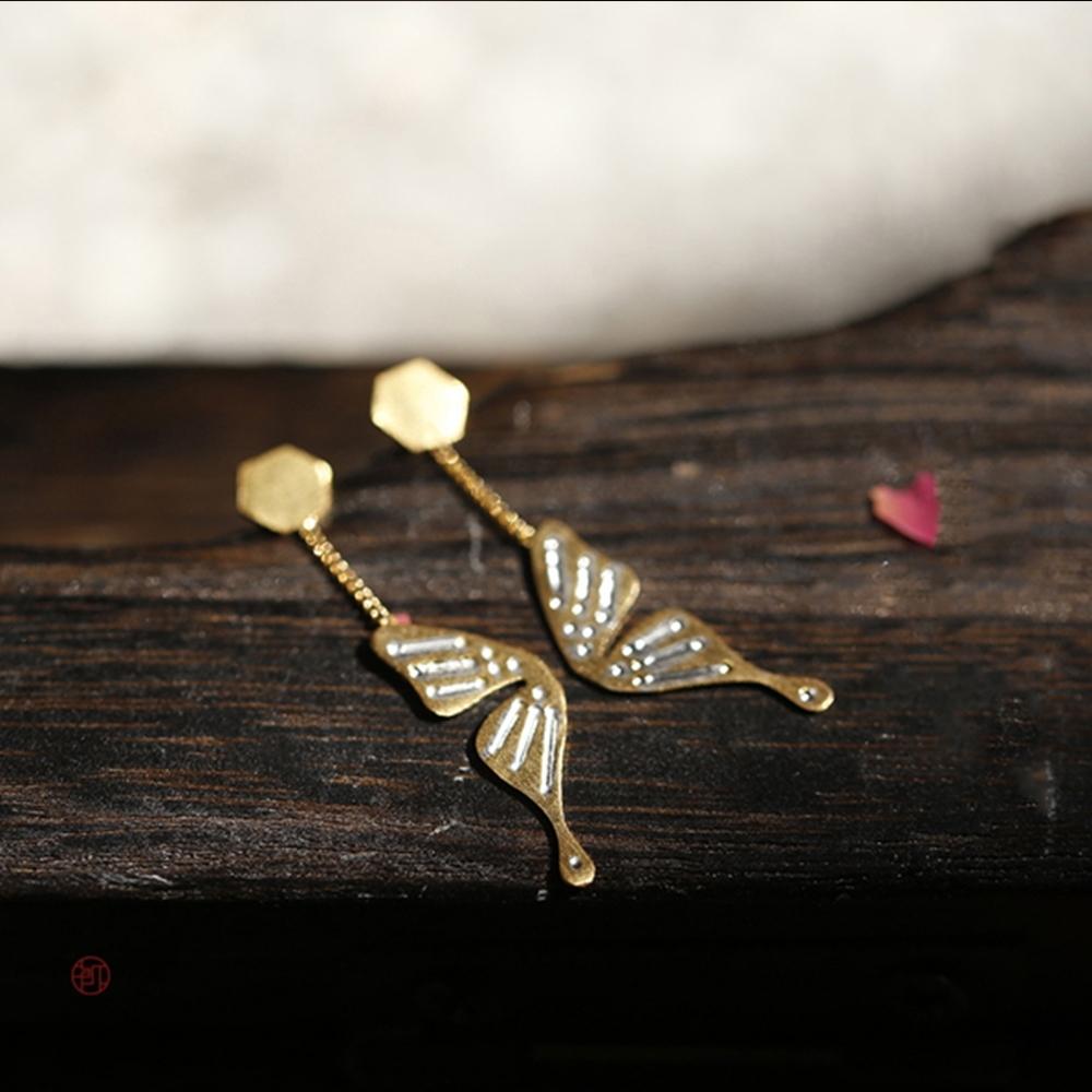 東方美學藝術蝴蝶蹁躚純銀耳釘耳墜-設計所在