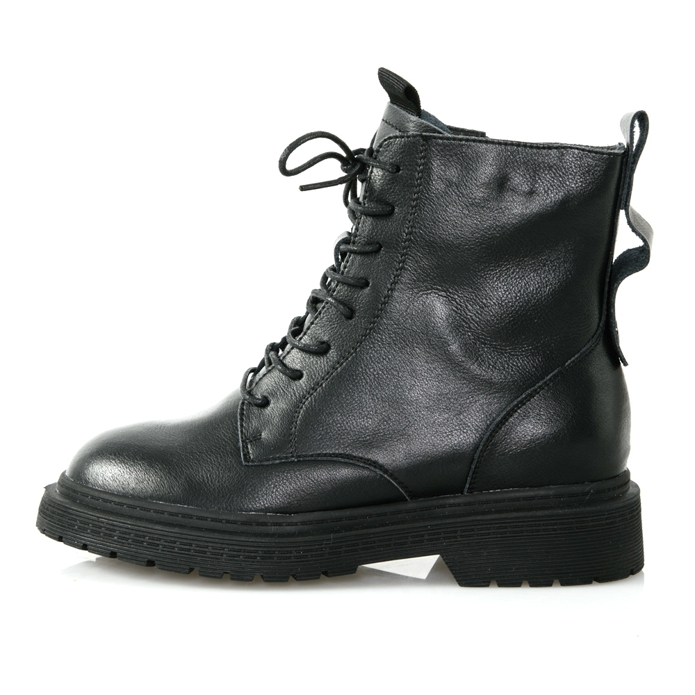 JMS-勁酷風格軍裝綁帶拉鍊短靴-黑色