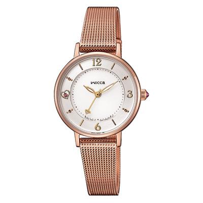 CITIZEN  WICCA 星願系列玫瑰金米蘭腕錶-28mm