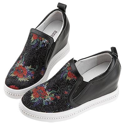 Robinlo & Co.古典美花卉鑲鑽真皮內增高休閒鞋 黑色