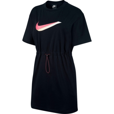 NIKE 洋裝 長版 休閒 運動 連身裙 女款 黑 CU5173010 AS W NSW ICN CLSH DRESS SS